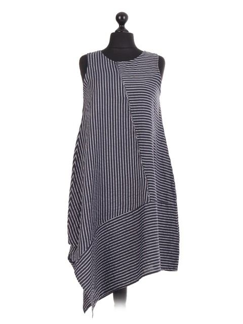 Italian Linen Stripe Asymmetric Cut  Sleeveless Dress