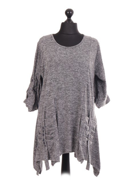 Italian Melange Knit Pleated Pocket Tunic Top