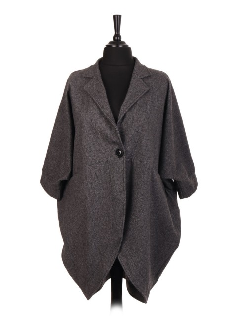Italian One Button Zig-Zag Pattern Batwing Coat