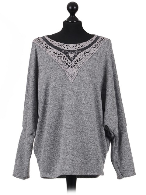Italian Organza Crochet Neck Batwing Sleeves Lagenlook Top-Grey