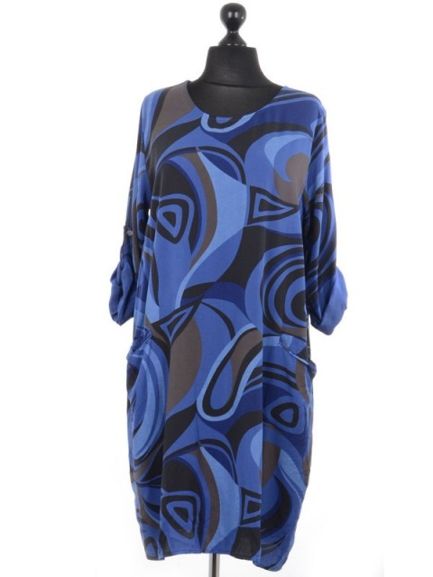 Italian Oversize Abstract Print Lagenlook Dress