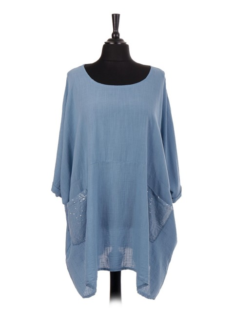 Italian Oversized Cotton Batwing Top With Sequin Pockets