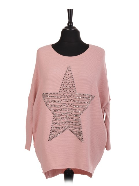 Italian Pearl And Diamante Star Batwing Jumper