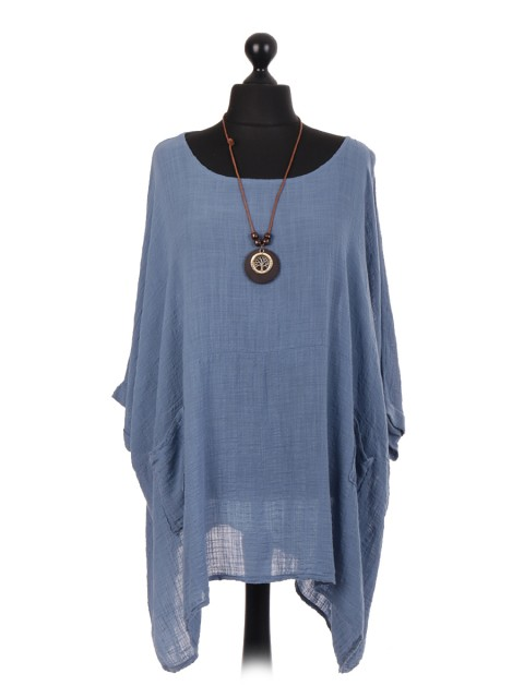 Italian Plain Batwing Top With Front Pockets and Necklace