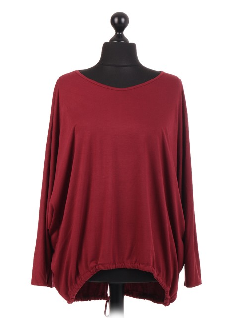Italian Plain Gathered Dip Hem Batwing Top