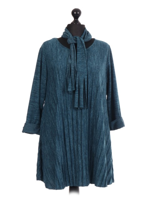 Italian Pleated Tunic Top With Scarf