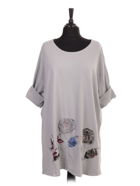 Italian Plus Size Applique Floral Cotton Top