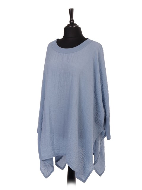 Italian Plus Size Batwing Tunic Top With Side Split