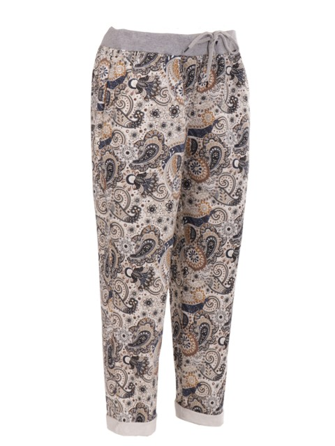 Italian Plus Size Cotton Paisley Print Trouser