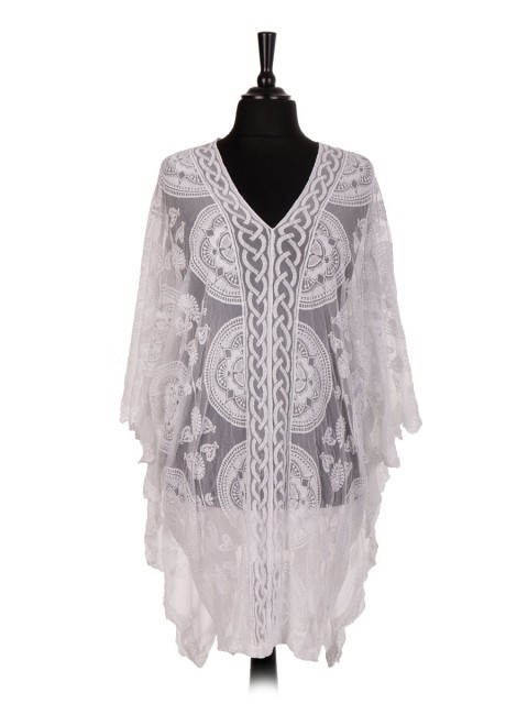 Italian Plus Size Net Embroidered Kimono Cover Up Top