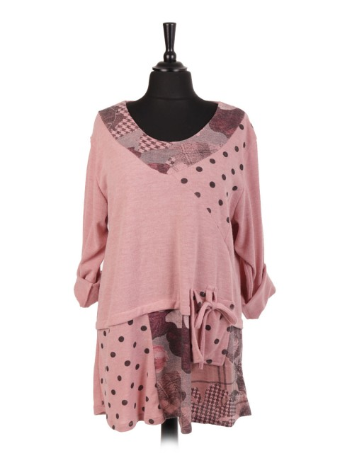 Italian Polka Dot Flared Top With Front Pocket