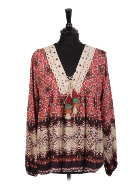 Italian Printed Multicolor Tassel Tie Neck And Lace Detail Top