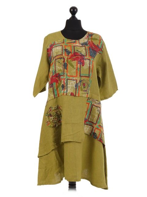 Italian Printed Patch Linen Dress
