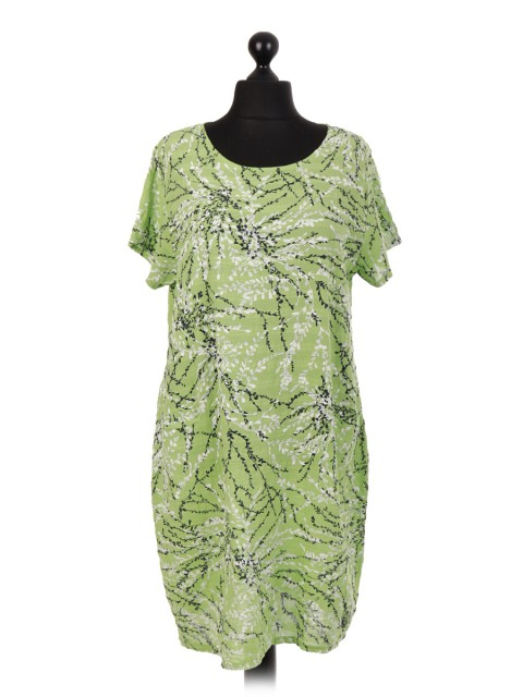 Italian Printed Short Sleeve Dress