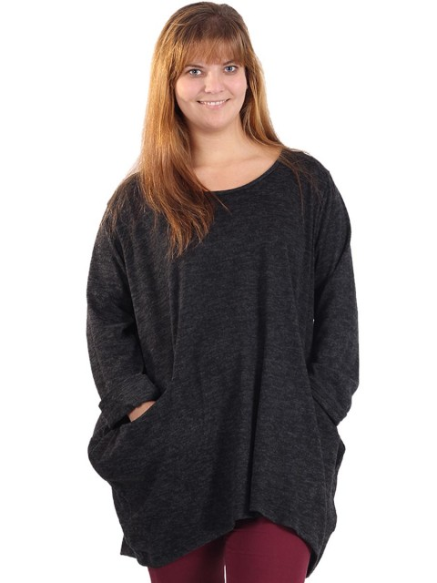 Italian Quirky Front Pocket Top Charcoal