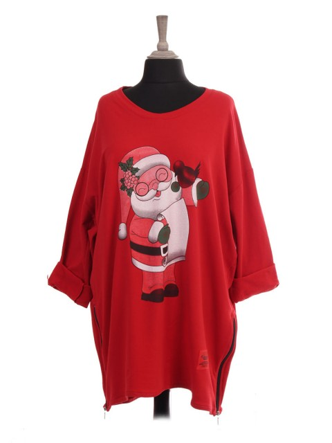 Italian Red Label Santa Print Sweat Top With Side Zip Detail