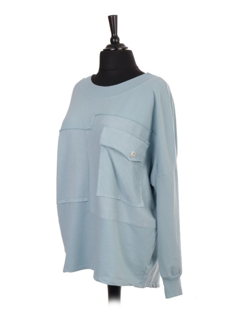 Italian Ribbed Panel Batwing Dip Hem Top with Front Pocket