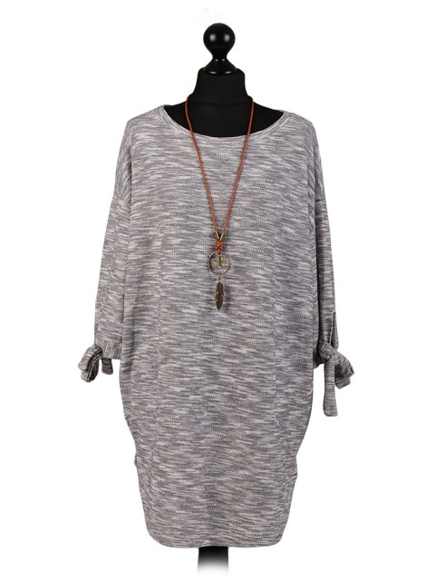 Italian Knot Detail Arms Textured Tunic