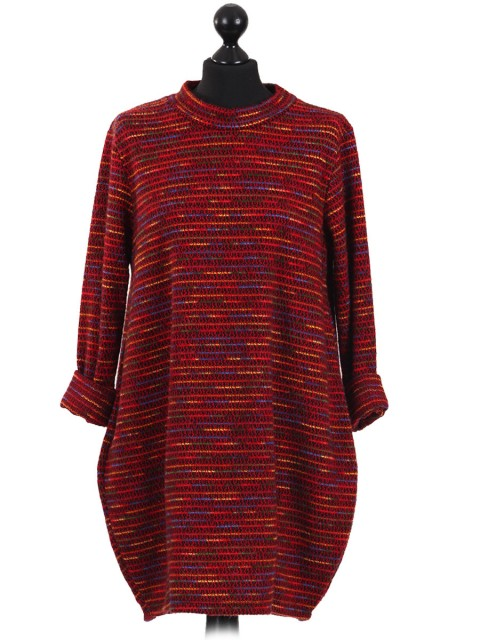 Italian Crew Neck Multicolor Winter Top maroon