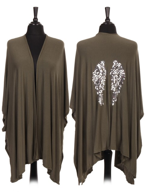 Italian Sequin Angel Wing Open Front Cape/cardigan