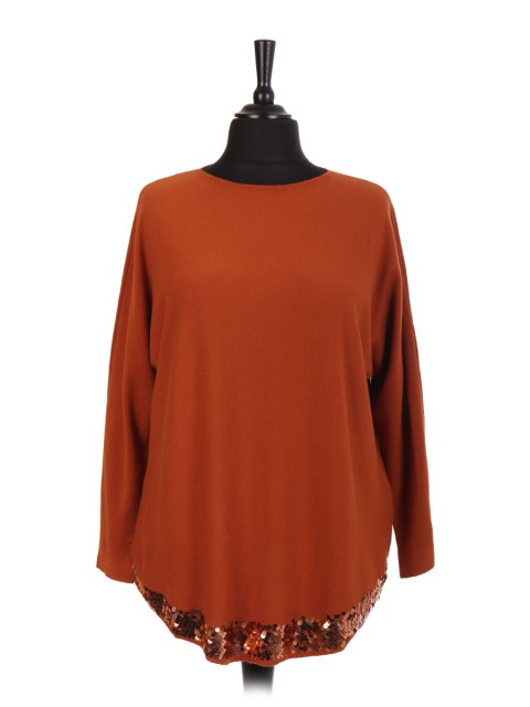 Italian Sequin Round Hem Jumper Top