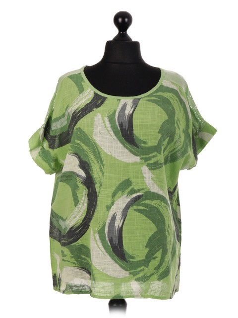 Italian Sequin Shoulder Brush Stroke Print Top