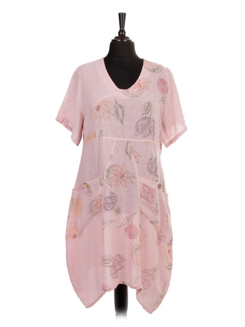 Italian Short Sleeve Linen Floral Lagenlook Dress with Pockets