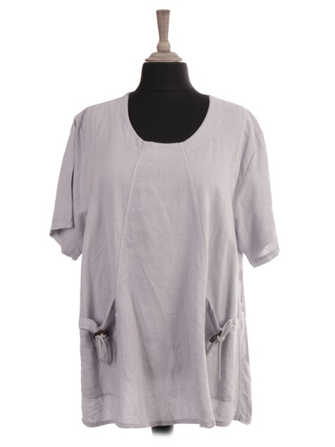 Italian Short Sleeves Linen Top With Front Pockets