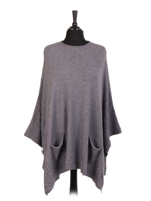 Italian Side Button Cable Knit Poncho With Front Pocket