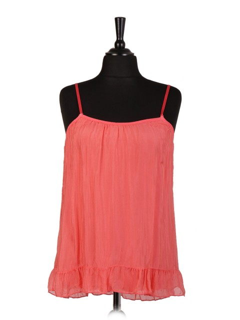 Italian Silk Strappy Two Layered Cami Top