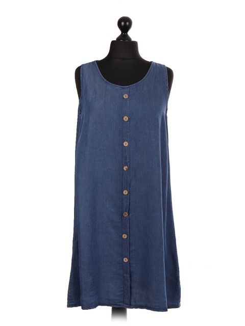 Italian Sleeveless Button Panel Chambray Top