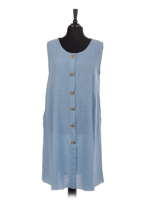 Italian Sleeveless Button Panel Dress With Side Pockets