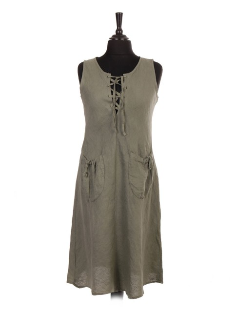 Italian Sleeveless Lagenlook Linen Dress With Elasticated Front Pockets
