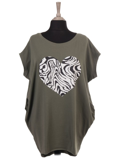 Italian Sleeveless Zebra Print Heart Batwing Top