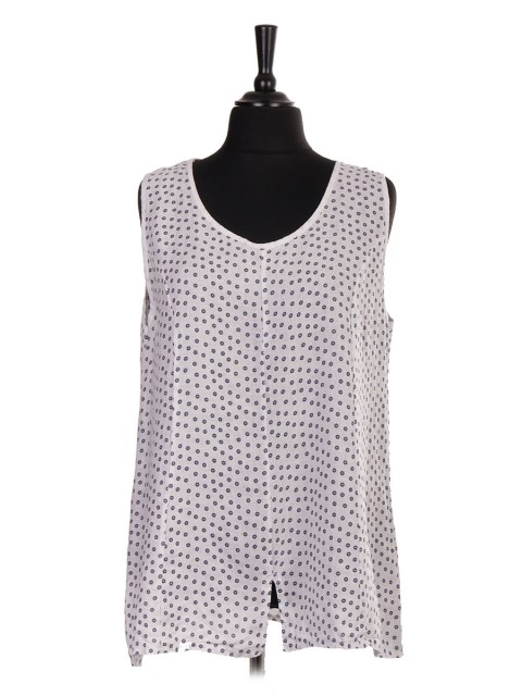 Italian Linen Small Flower Print Sleeveless Top With Split Hem