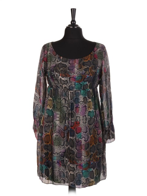 Italian Snake Print Two Layered Silk Dress