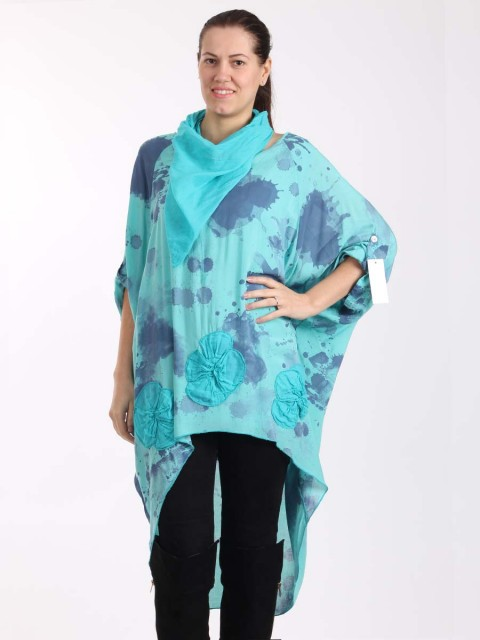 Italian Splash Print Floral Hem High Low Top With Scarf -Turqouise