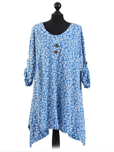 Italian Batik Print Tunic Top With Front Button Under Neck-Royal blue