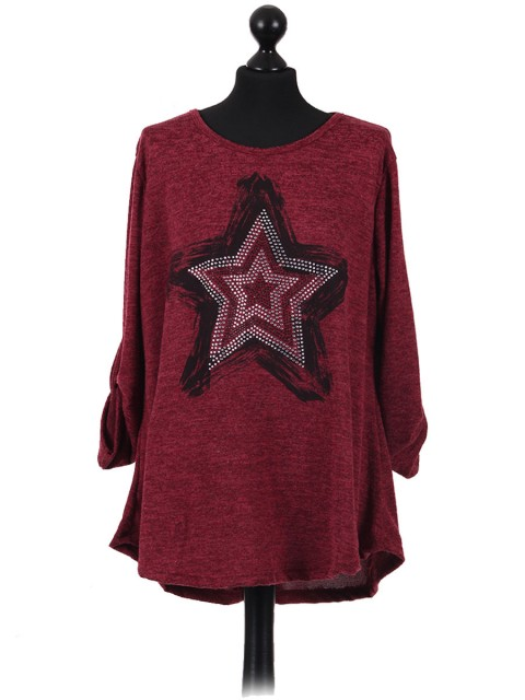 Italian Ladies Star Pattern Diamantes Lagenlook Top wine