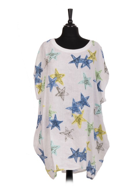 Italian Star Print Linen Baggy Dress With Side Pockets