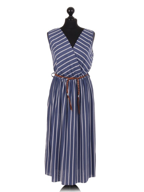 Italian Stripe Pattern Sleeveless Dress