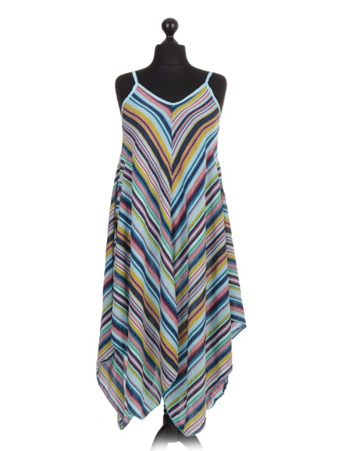 Italian Stripe Printed Dress With Fluid Handkerchief Hem