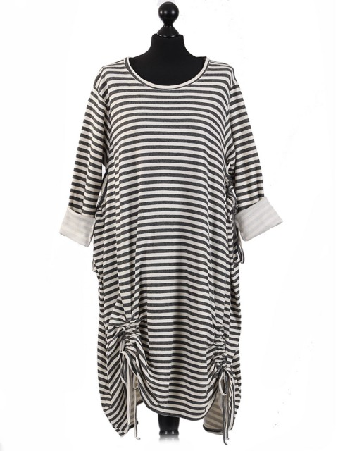 Italian Stripy Tunic Dress with Tied Hem-Black