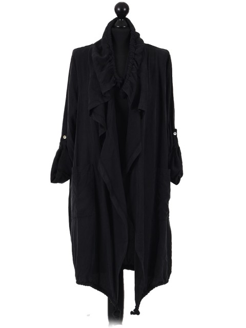 Italian Ladies Waterfall Cardigan With Front pocket black