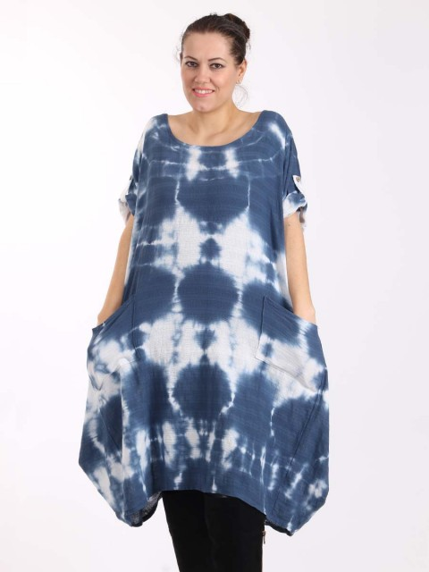 Italian Tie dye front pocket quirky linen dress-Denim