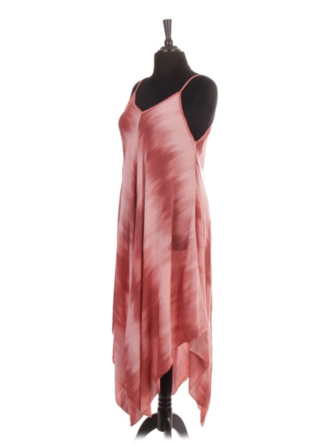 Italian Tie Dye Printed Handkerchief Hem Dress