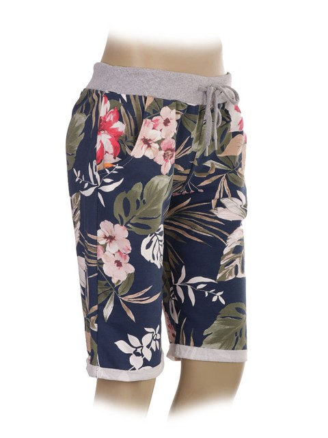 Italian Tropical Print Cotton Shorts with Side Pockets