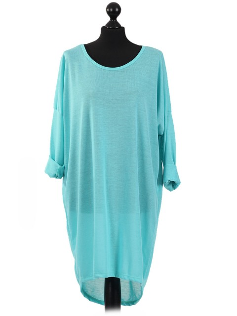 Italian Tunic High Low Dress with Back Button Detail-Terquoise