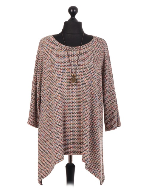 Italian Tunic Top With Necklace