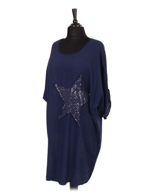 Italian Turn-up Sleeve Star Sequin Patch Dress